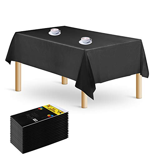 16-Pack Rectangle Plastic Tablecloth - Premium Disposable Table Cloths Table Covers 54