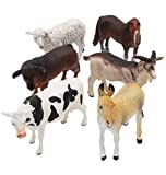 jxwstar 6 Piece Farm Animal Models Toy Set, Realistic Animals Action Figure Model, Educational Learn Cognitive Toys