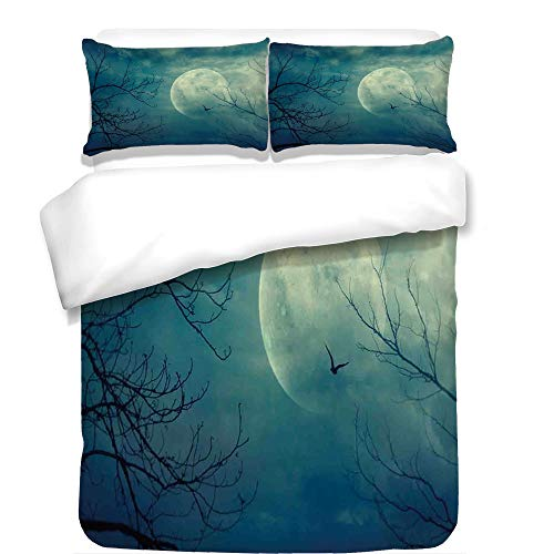 3Pcs Duvet Cover Set,Horror House Decor,Halloween with Full Moon in Sky and Dead Tree Branches Evil Haunted Forest,Blue,Best Bedding Gifts for Family/Friends