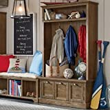 Hall Tree Made of Reclaimed Pine Wood Has Two Cabiners with Internal Shelves Central Drawer is a Pull-out Hooks Included Entryway Furniture