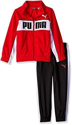 (PUMA Little Boys' Tricot Pant Set, Ribbon red, 4)