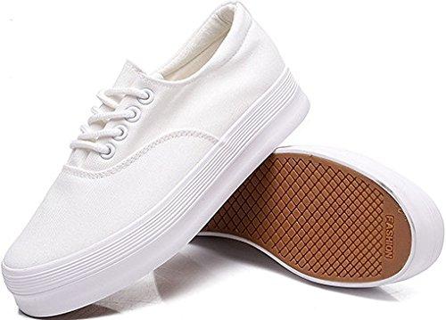 Canvas Shoes Lace Women's Laruise White BnpqXx06w