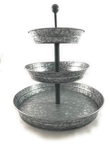 3 Tier Serving Tray Galvanized Large by GalvanizeYourHome
