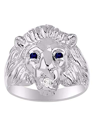 Amazing Conversation Starter Genuine Natural Diamond & Gorgeous Red Sapphire Lion Head Ring in Sterling Silver .925