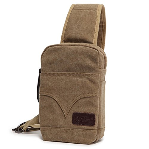 Outdoor Canvas Bag color Shoulder Messenger Waterproof Chest Men's Sports Zipper Khaki 1RHHPq