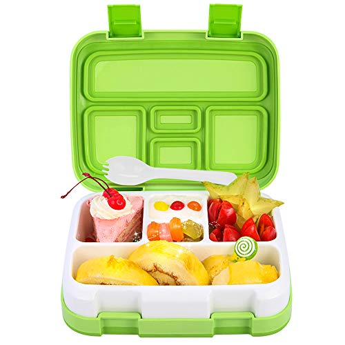 - Bento Box for Kids School Lunch Box DaCool Upgraded Toddler Lunch Container with Spoon 5-Compartment Leak Proof Durable, Meal Fruit Snack Packing for Picnic Outdoors, Microwave Safe BPA-Free - Green