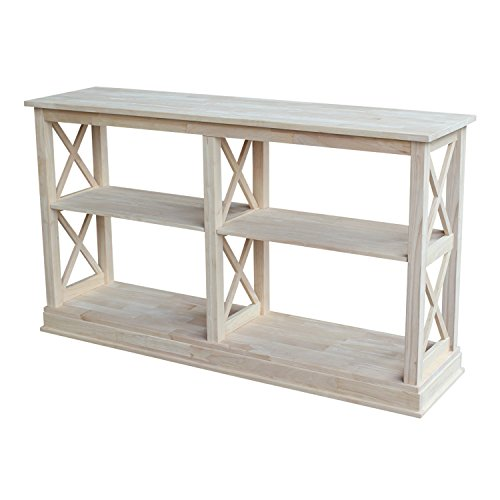 Table Console Unfinished - International Concepts Hampton Sofa Server Table with Shelves