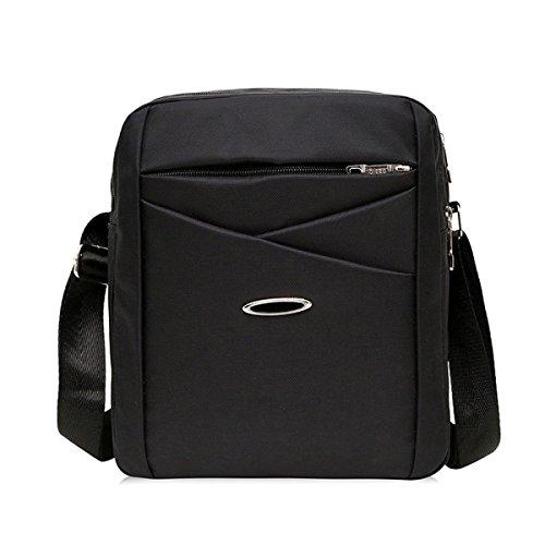 Männer Und Frauen Messenger Ipad Schulter Tote Sling Freizeit Tasche Braun Oxford,Black-22cm*7cm*27cm