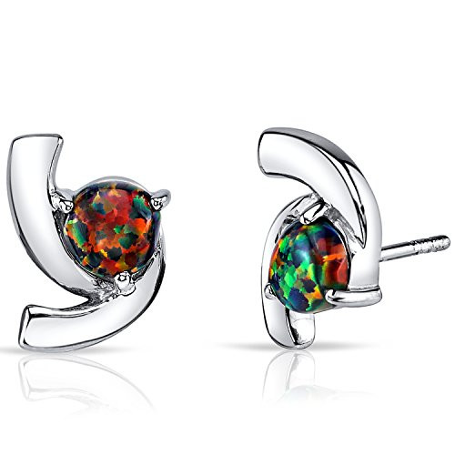 Created Black Opal Trinity Earrings Sterling Silver 1.25 Carats