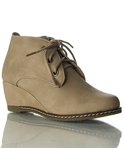 Nature Breeze Willow-01 NuBuck Round Toe Lace Up Wedge Boots