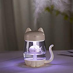 Gotian Air Purifier 350ml 3 in 1 Air Purifier Portable USB Humidifier Steam Night Light Fan, Mist Steam Maker Diffuser Home Office Car Outdoor (White)