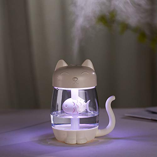Price comparison product image Smdoxi_home Air Purifier Atomizer Diffuser Air Aroma Essential Oil Diffuser 3 in 1 Humidifier Cute Cat LED Humidifier Air Fan Diffuser Purifier Atomizer