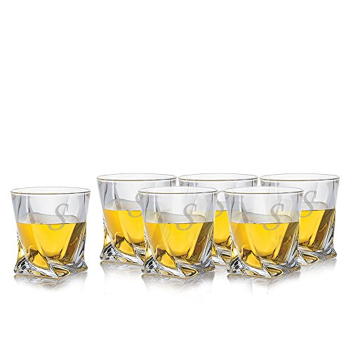 (Personalized Quadro Crystal 6 Pc Whiskey Rocks Liquor Glass Set By Crystalize Engraved & Monogrammed - Unique Twisted Square Design - Great Gift for Father's Day, Weddings and Groomsmen)