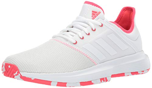 (adidas Women's Gamecourt, White/Shock red, 7 M US)