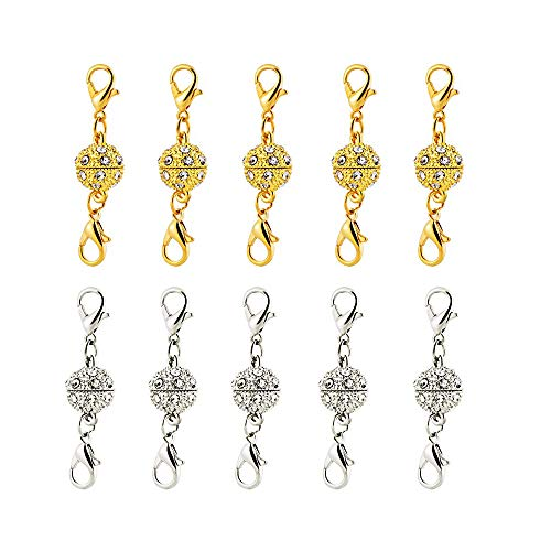10 PCS Magnetic Lobster Clasps for Jewelry Necklace Bracelet, Gold and Silver Luxury Rhinestone Ball Style Magnetic Lobster Clever Clasps Converters DIY Jewelry Making Accessories (Closure Crystal Magnetic)