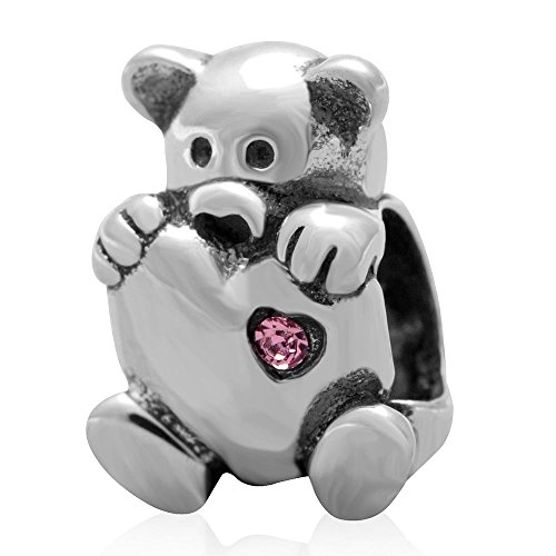 Solid Bear Silver Teddy Sterling (925 Solid Sterling Silver Teddy Bear Holding a Heart with a Pink Crystal Charm Bead)