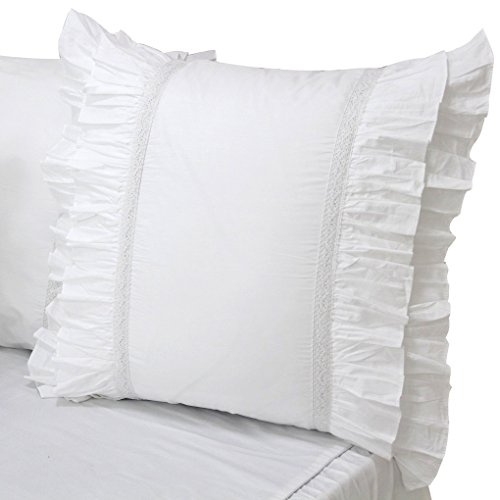European Sham Bedding (Queen's House Set of 2 White Euro Shams-Style L)