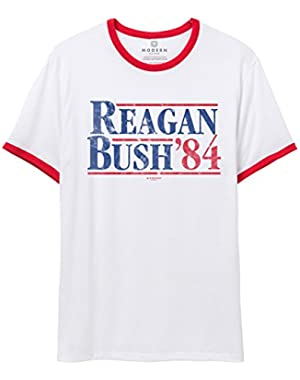 Modern Discord&Trade; Mens/Unisex Reagan Bush 84 Vintage Ringer T-Shirt