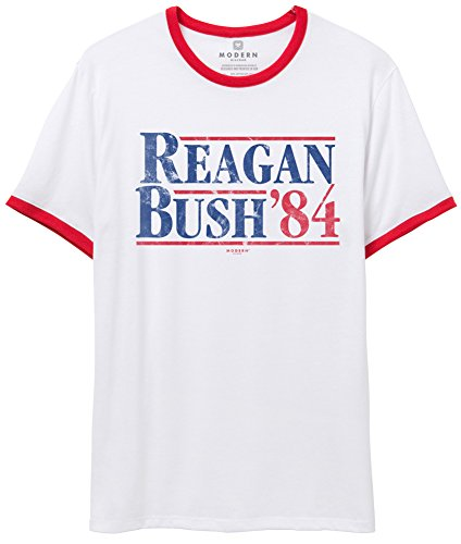 Superluxe Clothing Mens/Unisex Reagan Bush 84 Vintage Republican Presidential Poster Ringer T-Shirt, White/Red, Small -