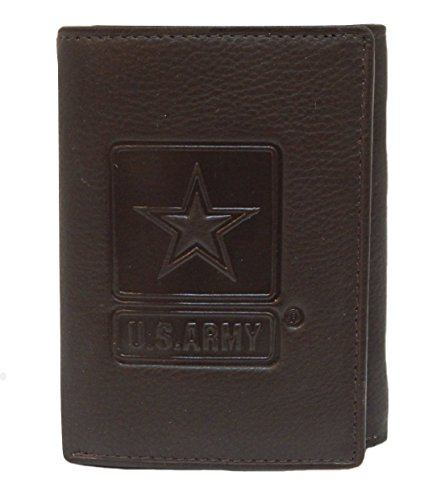 US Armed Forces Collection RFID Men's Genuine Leather Wallets - Gift Boxed Bi-Fold and Tri-Fold Leather Wallets (US Army Tri-Fold, Brown)