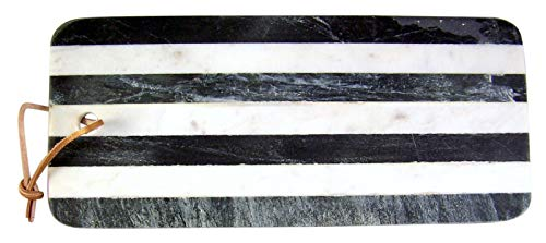 Black and White Striped 14.5 x 6 Inch Marble Cheese Serving Board