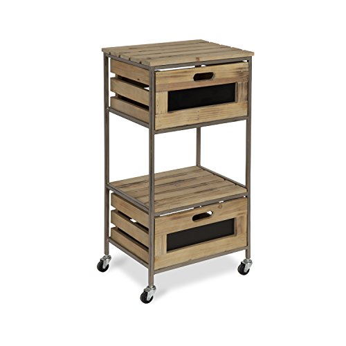 Kate and Laurel - Gannon 2 Drawer Kitchen Trolley, Utility Cart, Rolling Storage with Wheels, Natural Wood Shelves and Silver Metal Frame