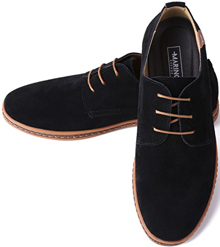Marino Suede Oxford Dress Shoes for Men – Business Casual Shoes – Classic Tuxedo Men's Shoes – Black- 12 D(M) US