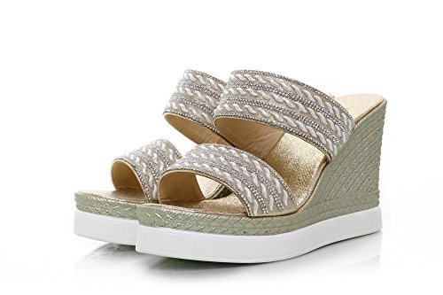 AmoonyFashion Womens Pull-on Open-Toe High-Heels Blend Materials Studded Sandals Gold UK1WJgmtkW