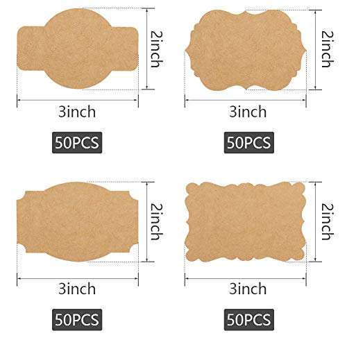SallyFashion 200 PCS Kraft Paper Gift Tags Blank Label Stickers for Holiday Glass Bottle Present Supplies 3 * 2inch