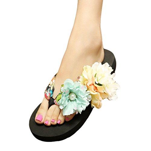 YOUJIA Mujeres Boho Flores Chanclas Verano Playa Zapatos de cuña Plataforma Zapatillas #2 Negro