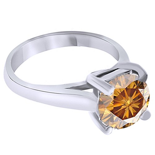 Jewel Zone US 2.29 Cttw Round Cut Yellow Brown Moissanite Solitaire Ring 14K White Gold ()