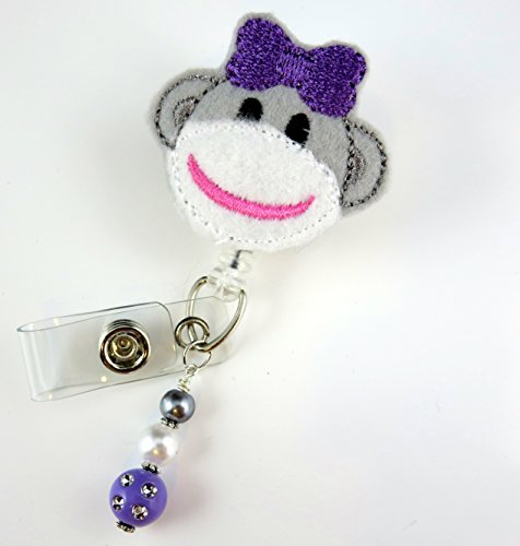 Cute Sock Monkey- Nurse Badge Reel - Retractable ID Badge Holder - Nurse Badge - Badge Clip - Badge Reels - Pediatric - RN - Name Badge Holder
