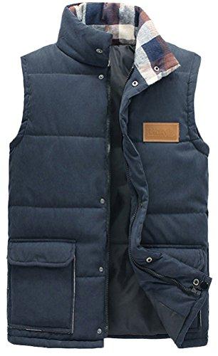 Fiream Mens Winter Cotton Sleeveless Warm Down Jackets Vest(Blue,US L)