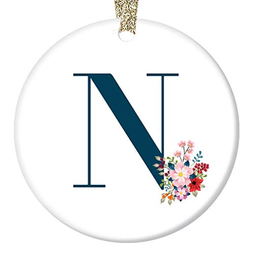 Woman's N Name Monogram Ornament First Last Name Letter