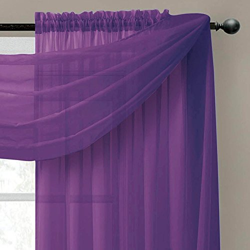 Empire Home Solid Purple Sheer Voile Scarf Valance 216