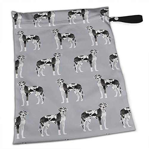FSXDOG Great Dane Stylish Waterproof Wet Dry Bags Zipper Diaper Pail Bag for Reusable Diapers Or Laundry