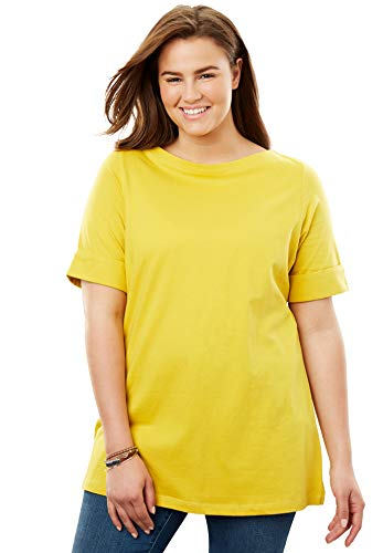 - Women's Plus Size Perfect Boatneck Tee with Cuffed Elbow Length Sleeves ,Golden Mustard,Large Plus