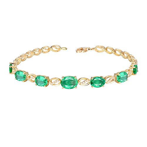 Luxury Fine Jewelry 18k/14k White Yellow Gold Brilliant Diamond Natural Green Emerald Bracelet