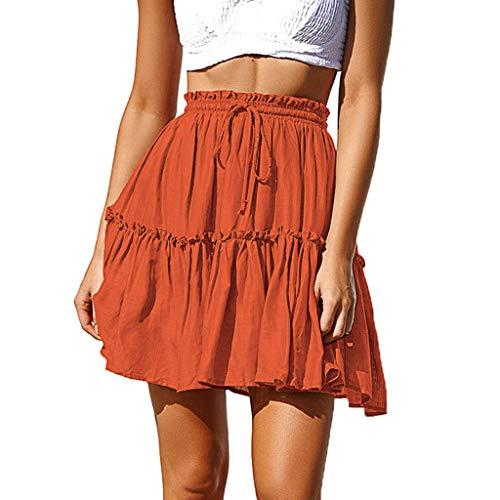 - TWGONE High Waist A Line Skirt Mini Women Sexy Ruffles Pleated Lace Up Short Skirt(Large,Orange)