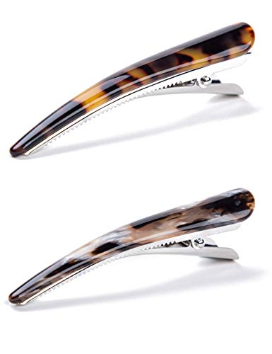 Prettyou 2 Pieces Celluloid French Barrette Tortoise Shell Alligator clips Fashion Accessories Hair for Women