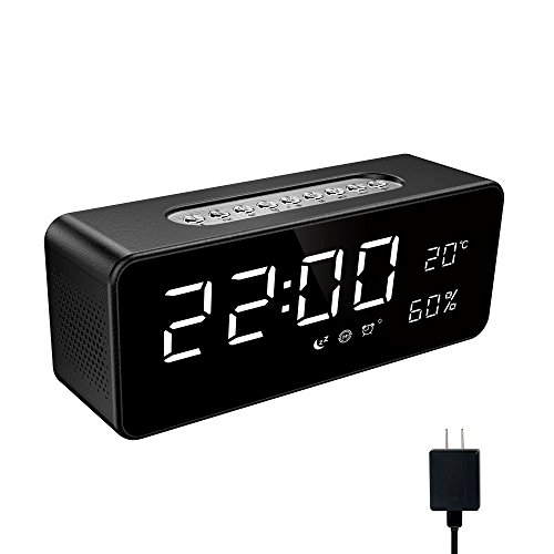 Soundance Alarm Clock Radio - with FM Radio, Bluetooth Speaker, Micro SD/TF Card USB Disk Player, Sleep Timer, Portable for Bedroom Bedside Office Desk iPhone Android Laptop Desktop Computer, S1 Black