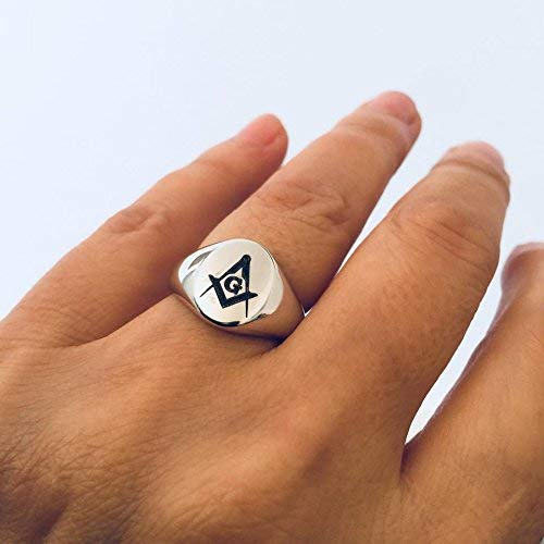 Masonic symbol, Coat of Arms Family Crest Engrave Ring, Personalized Signet Silver Pinky, Handmase Design