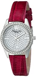 """Kenneth Cole New York Women's KC2843 """"Classic"""" Crystal-Accented Stainless Steel Watch with Red Leather Band"""