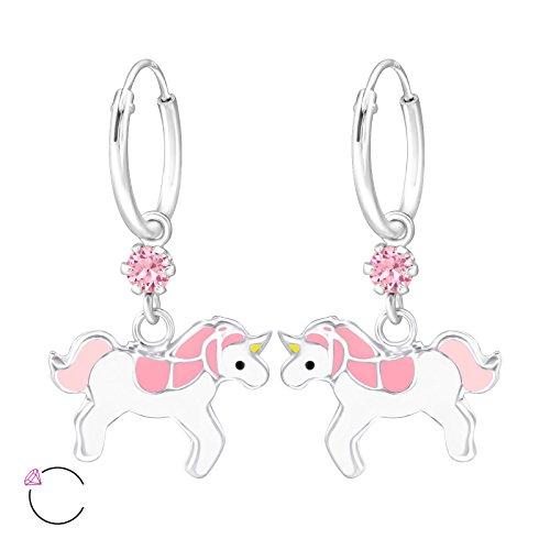 925 Sterling Silver Pink Swarovski Crystal & Pink & White Enamel Unicorn on Endless Hoop Earrings for Girls 32898 (Nickel Free) ()