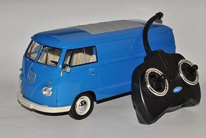 Amazon Com Welly Vw Volkswagen T1 Bully Blau Kasten Rc Funkauto 1