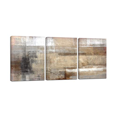 VIIVEI Canvas Wall Art Vintage Abstract Picture Brown and Beige Abstract Prints Painting Canvas Artwork for Office Gifts Living Room Bedroom Stretched Framed Ready to Hang 20 x 28 x 3 Panels, 12