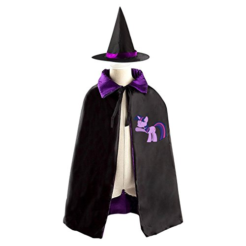 Girls Twilight Witch Costumes (Twilight Sparkle Halloween Costumes Decoration Cosplay Witch Cloak with Hat (Black))
