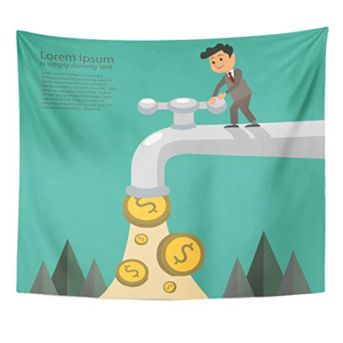 Emvency Tapestry Assets Cash Businessman Fall Out of The Golden Tap Passive Income Flat Bank Home Decor Wall Hanging for Living Room Bedroom Dorm 50x60 Inches (Residual Income Game)
