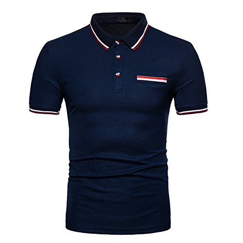 K-Men Men Classic Navy Blue Short Sleeve Performance Polo Shirt T-Shirt X-Large