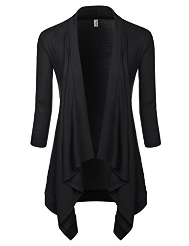 NEARKIN (NKNKWCD6927 Womens Open Front Slim Cut Look Daily Casual 3/4 Sleeve Cardigans Black US XS(Tag Size S) ()